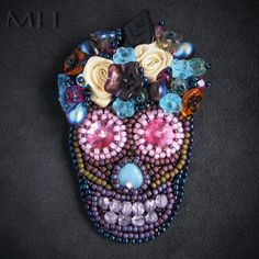 Beadembroidery scull, bead embroidery, beadweaving