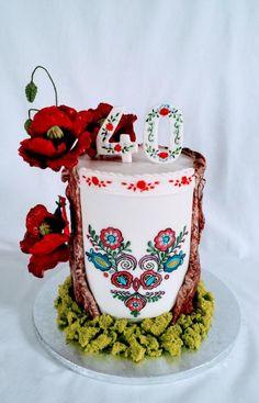 Folk cake by alenascakes Beautiful Cake Designs, Gorgeous Cakes, Amazing Cakes, Cupcakes, Cupcake Cakes, Marzipan, Poppy Cake, Painted Cakes, Just Cakes