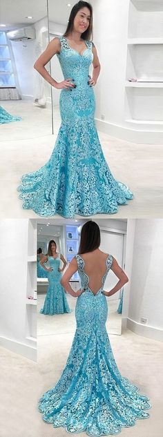 mermaid blue lace prom party dresses, chic fashion formal evening gowns, elegant backless dresses for formal party. by MeetBeauty, $155.64 USD