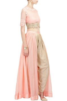 RIDHI MEHRA Pink textured top with panelled dhoti pants