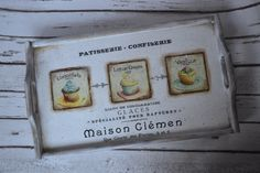 Patisserie Vintage Serving Tray breakfast Tray by iLoveCreations