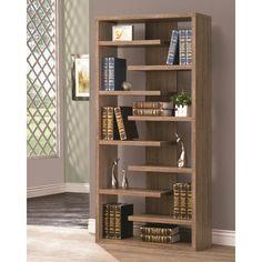 Brown Bookcase with a Slatted Shelf Design Coaster Furniture, Home Decor Furniture, Diy Home Decor, Furniture Design, Home Library Design, Home Room Design, Home Interior Design, Bookshelf Design, Wall Shelves Design