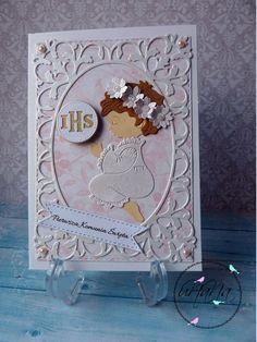 cottage cutz christmas angel card comunion komunia kartka First Communion Cards, Angel Cards, Christmas Angels, Baby Cards, Scrapbooking, Cottage, Notebooks, First Holy Communion, Cute Stuff