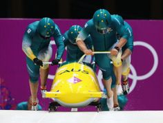 Pilot Heath Spence, Gareth Nichols, Duncan Harvey and Lucas Mata of Australia team 1 make a run during the Men's Four Man Bobsleigh heats (c) Getty Images Bobsleigh, Winter Olympics, Winter Sports, Sled, The Man, Skiing, Pilot, Athlete, Challenges