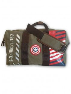 """Cap'n America"" Vintage Military Canvas Duffel by Marvel (Green)"