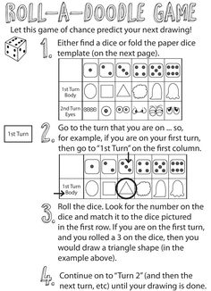 Here are the instructions for this dice rolling drawing game.