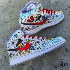 Tattooed custom hand painted Jordan retro by ArtOfTheSole Jordan Retro 1, Custom Jordans, Custom Sneakers, Custom Painted Shoes, Custom Shoes, Hand Painted Shoes, Zapatillas All Star, Moda Sneakers, Fresh Shoes