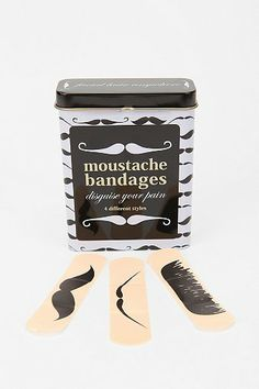 "Mustache Bandages- For husband's stocking with a note that says ""as close as your going to get to a mustache"""