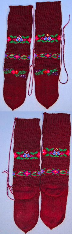 Women's hand knitted woolen stockings called 'chorapi' from Galičnik (western Macedonia). Ethnic group: Miyaks (a pastoral people who have kept their traditions better than most in Macedonia).
