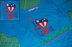 God Bless The USA Embroidery - Elaine       This shirt just came off the embroidery machine, and is ready to ship to Elaine!  I hope you enjoy your embroidered Independence Day T-Shirt.  I've enjoyed sewing for you today!     ...YankeeBelle