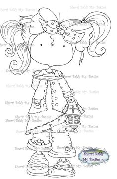 Little Dimples digi stamp by Sherri Baldy Colouring Pages, Coloring Books, Besties, Big Eyes Artist, Line Art Images, Creation Art, Black And White Lines, Mosaic Crafts, Hand Embroidery Patterns