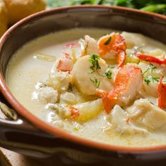 GRANDMA'S RECIPES - A seafood chowder recipe acked with goodness, a meal in itself. Seafood Chowder Recipe from Grandmothers Kitchen. Fish Chowder, Chowder Soup, Lobster Chowder, Lobster Bisque, Red Lobster, Chicken Chowder, Seafood Bisque, Chicken Soup, Fish Recipes