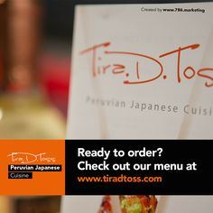 Ready to order? Check out our menu at www.tiradtoss.com #LunchTime #FoodSampler #food #foodie #peru #japan #miami #doral #peruvianfood #comidaperuana #comidajaponesa #japanesefood #ceviche #catering #cater #restaurant #miamirestaurants #bestrestaurants #comida #comer #eaters #foodporn #like4like #restaurants #peru #peruvian #cuisine #peruviancuisine #japanesecuisine