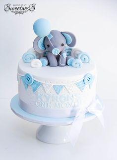 A Pocket Full Of Sweetness - Baby - Kuchen Gateau Baby Shower, Baby Shower Sweets, Baby Shower Cakes For Boys, Baby Boy Shower, Baby Cakes, Baby Birthday Cakes, 1st Boy Birthday, Elephant Baby Shower Cake, Elephant Cakes
