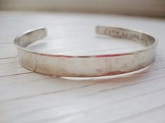 Hidden love message silver hammered cuff with by Lolasjewels, $14.00