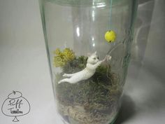 Cat with Yarn Ball Terrarium Find us on Facebook :: puff terrariums