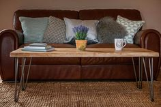 The natural outline of the tree can be seen in the live range making each coffee table unique, The three rod raw steel hairpin legs offer a contemporary industrial feel offset by a rustic rich wooden surface. Made from solid french oak, the table has a chunky, rustic look that makes