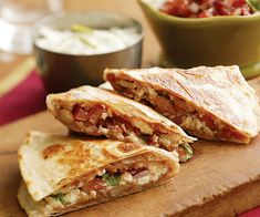 Quesadillas with Refried Beans, Cheese & Scallion Sour Cream