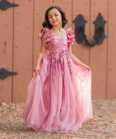 Pink Petal Flutter-Sleeve Maxi Ariana Dress - Toddler & Girls #affiliate