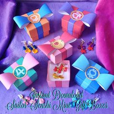 Sailor Moon Inspired Mini Gift Box - Instant Download - Printable - Scouts Senshi Kawaii Bow / Bows - Pastel Goth Party Favor Ring Boxes