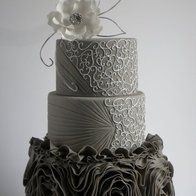 Ruffle silver wedding cake