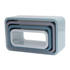 SETT MED 4 BOKHYLLER - OVALE (BLÅ) Sideboard, Minis, The Unit, Interior, Inspiration, Storage Units, Shelves, Baby, Lily