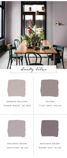 Our Favorite Paint Color Trends for Fall 2017 - coco kelley - our top favorite paint color trends for fall dusty lilac Purple Paint Colors, Best Bedroom Paint Colors, Favorite Paint Colors, Paint Colors For Home, Purple Wall Paint, Purple Dining Room Paint, Purple Bedroom Paint, Mauve Living Room, Color Schemes