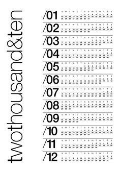 clean typographic calendar