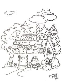 veršovaná pohádka perníková chaloupka - Hledat Googlem Coloring For Kids, Free Coloring, Adult Coloring, Printable Coloring Pages, Colouring Pages, Coloring Books, Kids Art Class, Art For Kids, Christmas Drawings For Kids