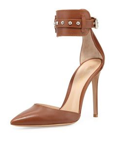 Studded-Ankle-Cuff Pump by Gianvito Rossi.