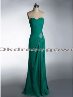 green long sweetheart chiffon prom dress, prom dress under 150