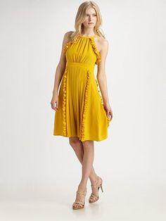 Tibi Silk Ruffle & Pleat Dress--cute maid of honor dress