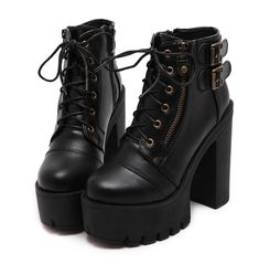 Gdgydh Hot Sale Russian Shoes Black Platform Boots Women Zipper Spring High Heels Shoes Lace Up Ankle Boots Leather Size - Gdgydh Hot Sale Russian Shoes Black Platform Boots Women Zipper Spring – chicmaxonline - Ankle Combat Boots, Lace Up Ankle Boots, Calf Boots, Moto Boots, Heeled Boots, Black Platform Boots, Black High Heels, Platform High Heels, Ankle Boots