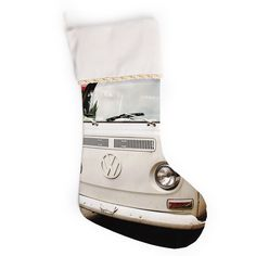 "Angie Turner ""VW Bus"" White Vintage Christmas Stocking"