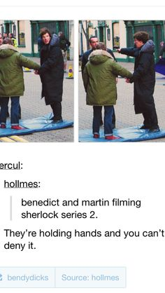 """Yeah, you can't deny it. But what I'm wondering is: Are you seriously telling me the Sherlock customer design / wardrobe team can't find a pair of jeans that would fit Martin Freeman without him having to roll them up??"" <<-- repinned for the comment, without a doubt lol"