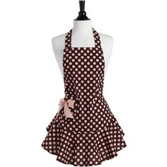 One of Jessie Steele's best selling aprons, our fun polka dot in perfectly coordinated brown and pink makes this apron a must-have for any hostess. With its flirty ruffle hem the feminine Josephine fe