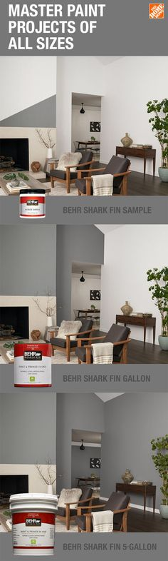 BEHR Premium Plus 1 gal. Shark Fin Flat Low Odor Interior Paint and Primer in - Behr Paint Colors, Paint Color Schemes, Interior Paint Colors For Living Room, Paint Colors For Home, Room Colors, House Colors, Grey Painted Kitchen, Popular Paint Colors, Home Depot