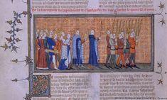 крещение Карла VI миниатюра 14 в.,  Большая французская хроника; Париж, национальная библиотека;  миниатюра описывает процессию крещения дофина, будущего короля Франции, его несёт на руках его мать, королева Жанна д'Эвре