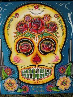 Items similar to Sugar Skull Print on Etsy Day Of The Dead Artwork, Day Of The Dead Skull, Sugar Scull, Sugar Skull Art, Mexican Skulls, Mexican Folk Art, Memento Mori, Samhain, Los Muertos Tattoo