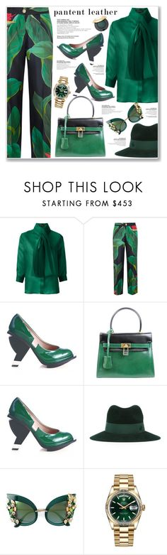 """""""PATENT LEATHER"""" by nanawidia ❤ liked on Polyvore featuring Gloria Coelho, F.R.S For Restless Sleepers, Abcense, ESCADA, Maison Michel, Dolce&Gabbana and Rolex"""