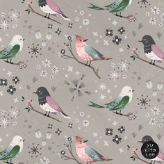 "Illustration by Yu Kito Lee: Pattern: ""Miss Mystic"" Little bird told me"