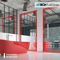 Modern windows with painted glass, loft style bathroom, red bathtub Red Windows, Modern Windows, Bathroom Red, Loft Style, Entrance Doors, Window Design, Bathroom Styling, Bathtub, Luxury