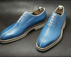 Handmade Men blue Leather Shoes, Men Casual Shoes with crepe sole, Men shoes is part of Shoes - Lining Soft Calf leather Heel Genuine leather Sole Genuine leather We also specialist in making custom design shoes and boot Upper Genuine Leather Blue Shoes, Men's Shoes, Shoe Boots, Dress Shoes, Shoes Men, Shoes Style, Dress Clothes, Suede Leather Shoes, Leather Men