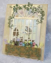 Tattered Lace DT cards Through the arch window Umbrella Man, Window Cards, Ppr, Shaped Cards, Arched Windows, The Draw, Organza Ribbon, Penny Black, Tim Holtz