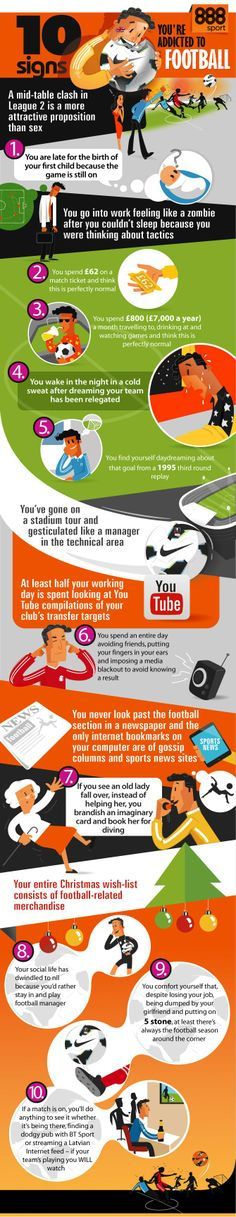 10 Signs You're Addicted to Football   #Football #Entertainment #Sports #infographic