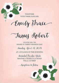 Anenome Floral Wedding Invitation Suite Custom by ItsyBelle