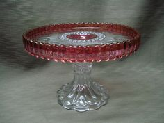 HTF US Glass Co. Manhattan Kings Crown Cake Stand Pedestal Ruby Stain 1902