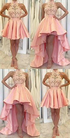 Chic High Low Prom Dresses Asymmetrical Appliques Pink High Neck Prom Dress/Evening Dress JKL331 #prom #promdress #evening #eveningdress #dance #longdress #longpromdress #fashion #style #dress #highlow #highlowpromdress #pinkpromdress #lace