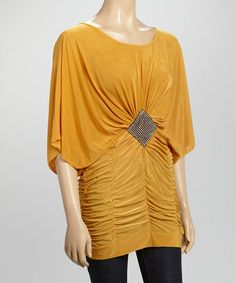 Look what I found on #zulily! Mustard Ruched Rhinestone Dolman Tunic #zulilyfinds
