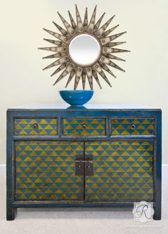 Allover Furniture Stencil Step Up Triangles - Royal Design Studio Stencils - www.royaldesignstudio.com